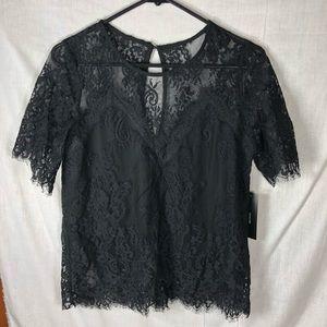 Lulu's Black Lace Tee S
